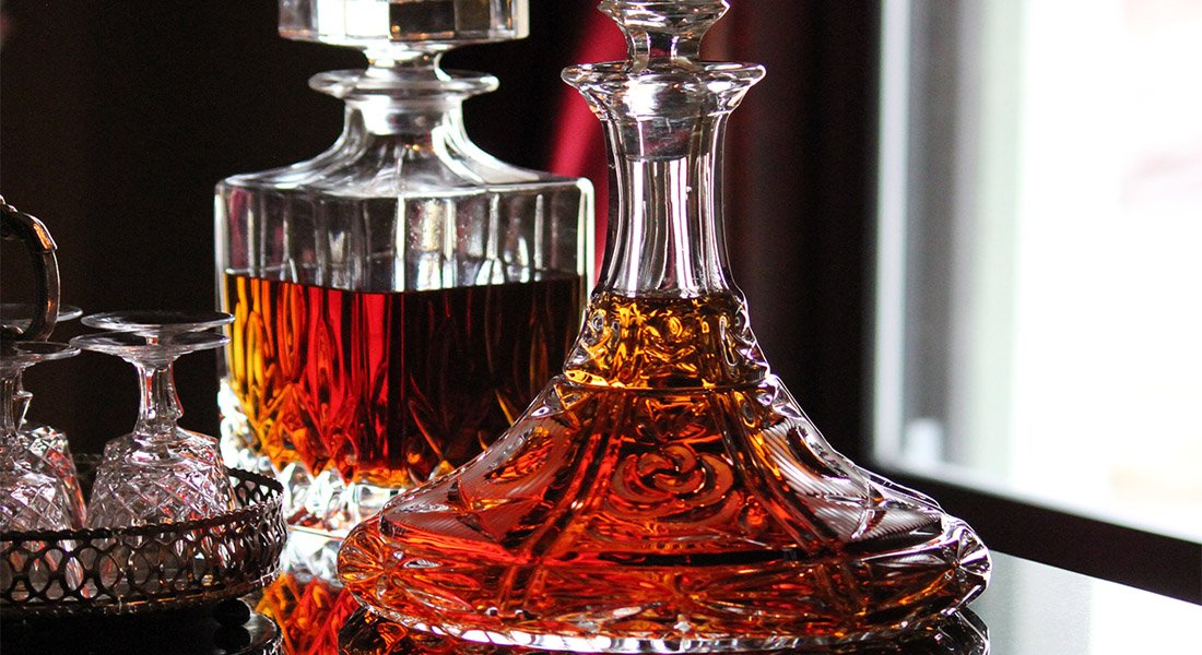 Decanter of brandy and amaretto