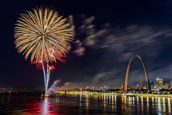 Fireworks over the Mississippi River with the Gateway arch to the right