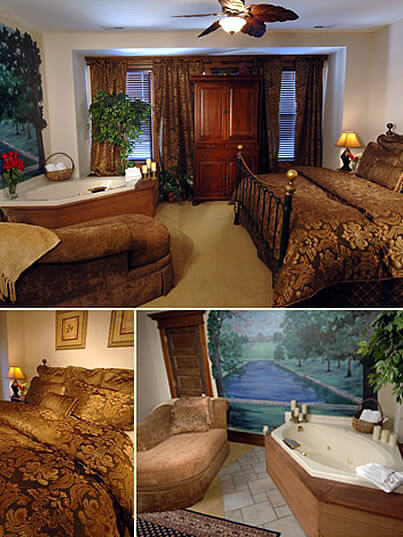 Colaberation of photos. Iron bed with brown and gold comforter, jetted tub with side chair and candles.