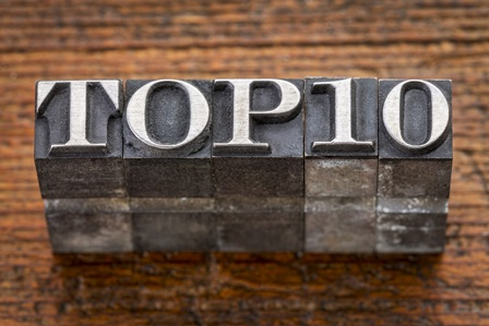 "Type set spelling out ""top 10"" on wooden table"
